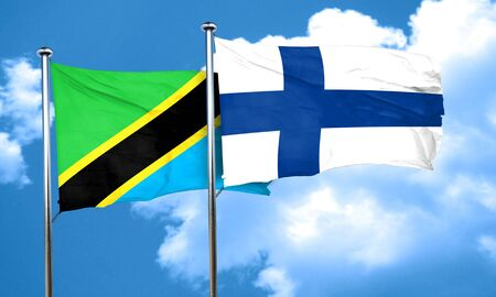 FINLAND flag: Tanzanian flag with Finland flag, 3D rendering Stock Photo
