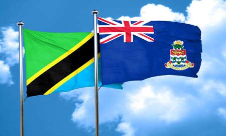 cayman: Tanzanian flag with Cayman islands flag, 3D rendering