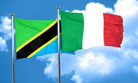 italian politics: Tanzanian flag with Italy flag, 3D rendering Stock Photo