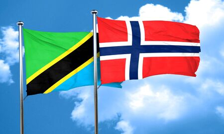 norway flag: Tanzanian flag with Norway flag, 3D rendering