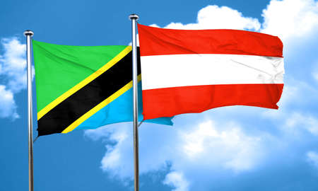 austria flag: Tanzanian flag with Austria flag, 3D rendering