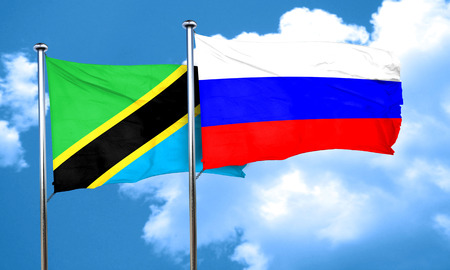 russia flag: Tanzanian flag with Russia flag, 3D rendering