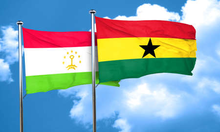 ghanese: Tajikistan flag with Ghana flag, 3D rendering Stock Photo