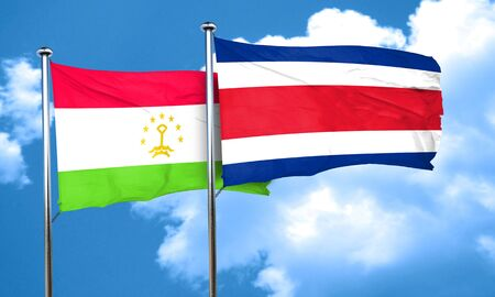 rican: Tajikistan flag with Costa Rica flag, 3D rendering