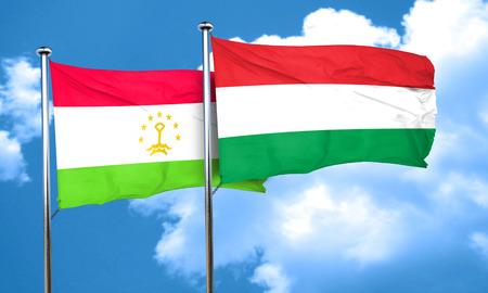 tajikistan: Tajikistan flag with Hungary flag, 3D rendering Stock Photo
