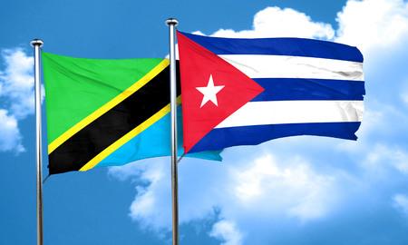 cuba flag: Tanzanian flag with cuba flag, 3D rendering