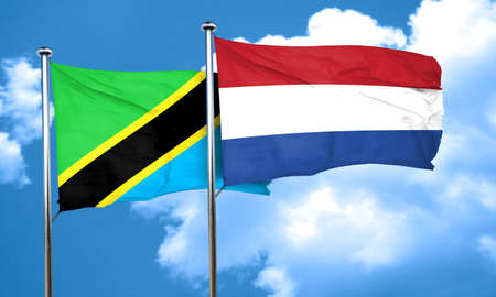 netherlands flag: Tanzanian flag with Netherlands flag, 3D rendering Stock Photo