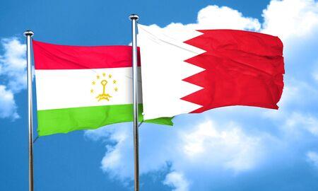 bahrain: Tajikistan flag with Bahrain flag, 3D rendering