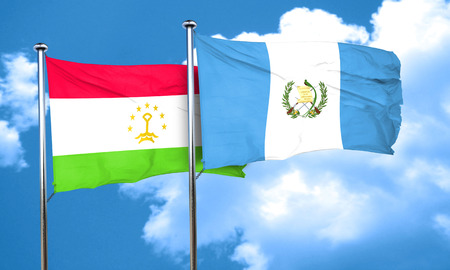 bandera de guatemala: bandera de Tayikist�n con la bandera de Guatemala, 3D