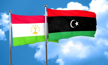 tajikistan: Tajikistan flag with Libya flag, 3D rendering Stock Photo