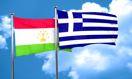 greece flag: Tajikistan flag with Greece flag, 3D rendering Stock Photo