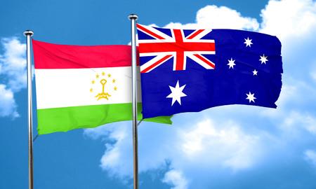 australia flag: Tajikistan flag with Australia flag, 3D rendering