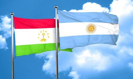 argentine: Tajikistan flag with Argentine flag, 3D rendering