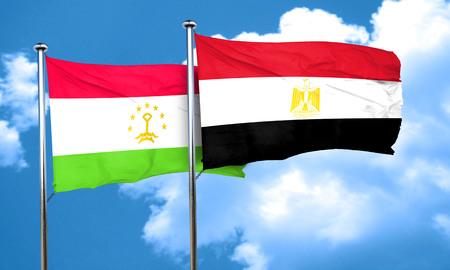 bandera de egipto: bandera de Tayikistán con la bandera de Egipto, 3D