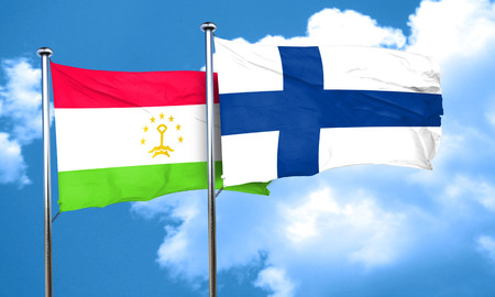 finland flag: Tajikistan flag with Finland flag, 3D rendering Stock Photo