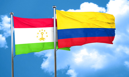 bandera de colombia: Tajikistan flag with Colombia flag, 3D rendering