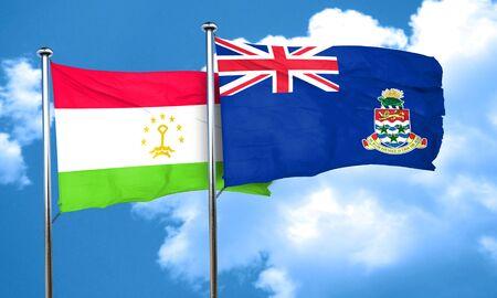 cayman: Tajikistan flag with Cayman islands flag, 3D rendering