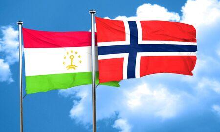 norway flag: Tajikistan flag with Norway flag, 3D rendering