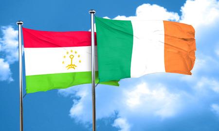 tajikistan: Tajikistan flag with Ireland flag, 3D rendering Stock Photo