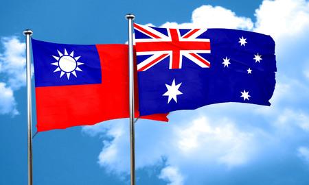 australian culture: Taiwan flag with Australia flag, 3D rendering