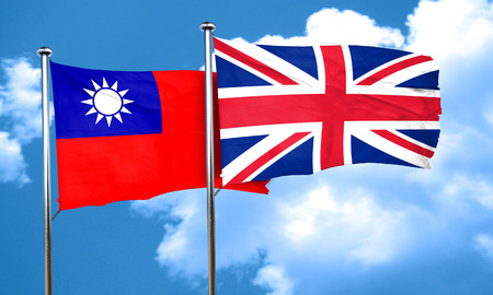 british culture: Taiwan flag with Great Britain flag, 3D rendering