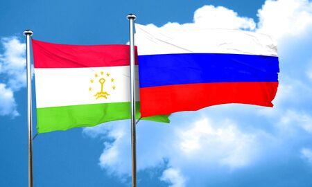 tajikistan: Tajikistan flag with Russia flag, 3D rendering Stock Photo