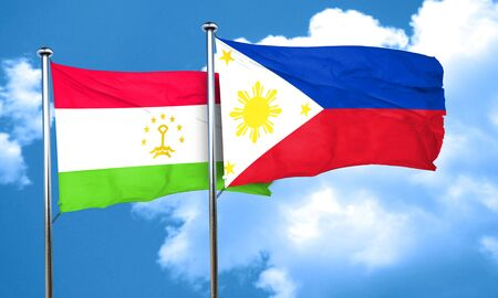philippino: Tajikistan flag with Philippines flag, 3D rendering