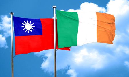 bandera irlanda: bandera de Taiw�n con la bandera de Irlanda, 3D