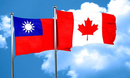 canadian state flag: Taiwan flag with Canada flag, 3D rendering Stock Photo