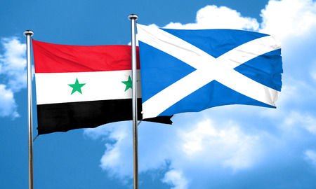 scotland: Syria flag with Scotland flag, 3D rendering