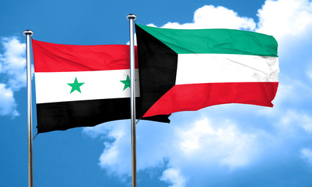 syria: Syria flag with Kuwait flag, 3D rendering