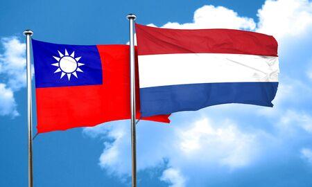 netherlands flag: Taiwan flag with Netherlands flag, 3D rendering