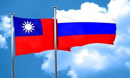 bandera rusia: bandera de Taiw�n con la bandera de Rusia, 3D