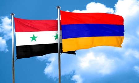 armenia: Syria flag with Armenia flag, 3D rendering Stock Photo
