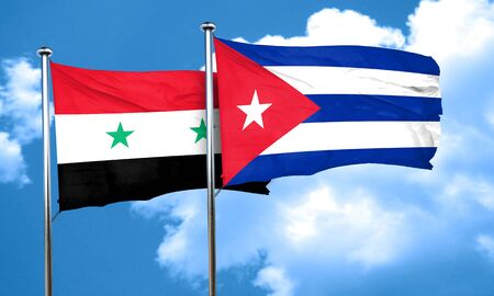 syria: Syria flag with cuba flag, 3D rendering