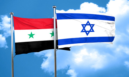 syria: Syria flag with Israel flag, 3D rendering