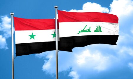 iraq flag: Syria flag with Iraq flag, 3D rendering