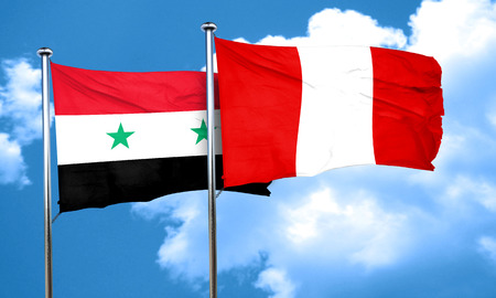 bandera de peru: bandera de Siria con la bandera de Per�, 3D Foto de archivo