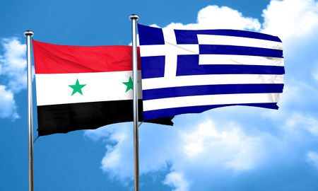 syria: Syria flag with Greece flag, 3D rendering Stock Photo