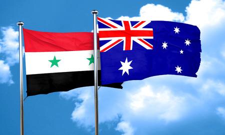 syria: Syria flag with Australia flag, 3D rendering