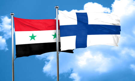 FINLAND flag: Syria flag with Finland flag, 3D rendering