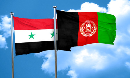 Syria flag with afghanistan flag, 3D rendering
