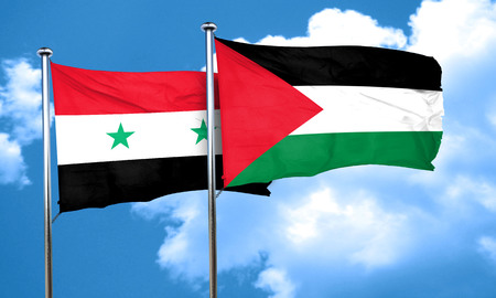 flag: Syria flag with Palestine flag, 3D rendering