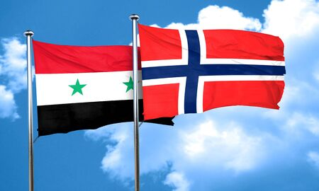 norway flag: Syria flag with Norway flag, 3D rendering
