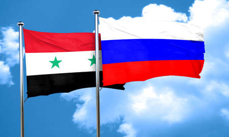 russian flag: Syria flag with Russia flag, 3D rendering