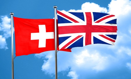 swiss flag: switzerland flag with Great Britain flag, 3D rendering Stock Photo