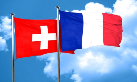 switzerland flag with France flag, 3D rendering Stock Photo