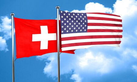 スイス連邦共和国の旗、3 D レンダリング