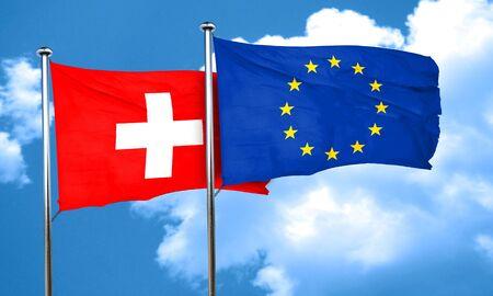 Bandera de suiza con la bandera de la Unión Europea, 3D Foto de archivo - 58081054