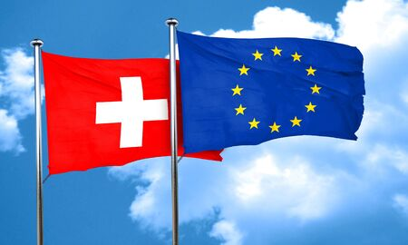 switzerland flag with european union flag, 3D rendering
